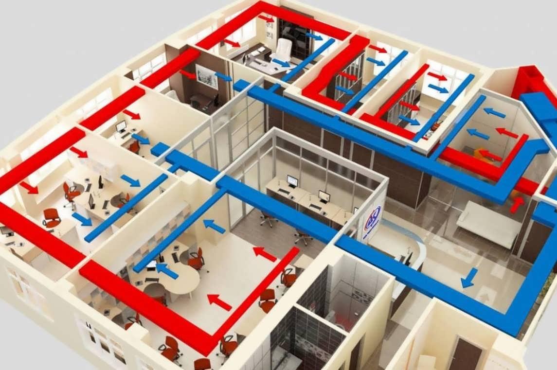 Схема вентиляции воздуха в офисе